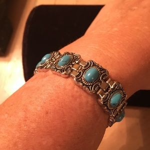 Simulated turquoise silver bracelet